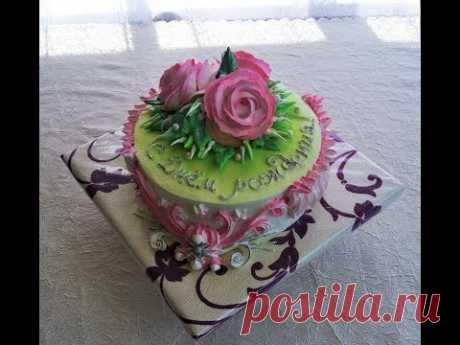 Оформление торта кремом на День рождения женщине