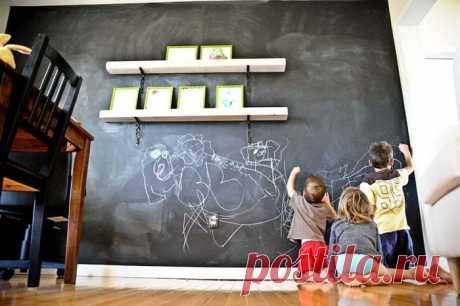 """7 способов применения грифельной краски и как ее сделать самому?   Журнал """"JK"""" Джей Кей Грифельная краска придаст необычный оттенок вашему интерьеру. Если вы хотите добавить новизны в дом, то стены из грифельной краски будут"""