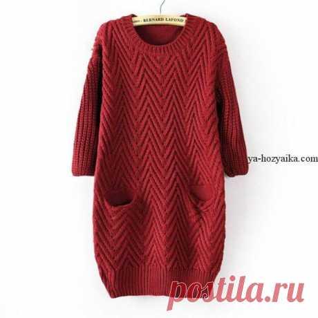 Арановое платье спицами схемы. Вязаное платье оверсайз