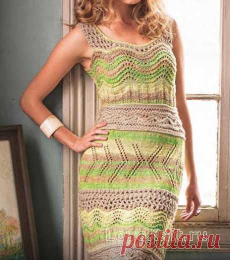 Ажурное приталенное платье-майка схема спицами » Люблю Вязать
