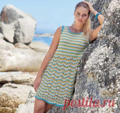 Полосатое хлопково-льняное платье без рукавов спицами — Shpulya.com - схемы с описанием для вязания спицами и крючком