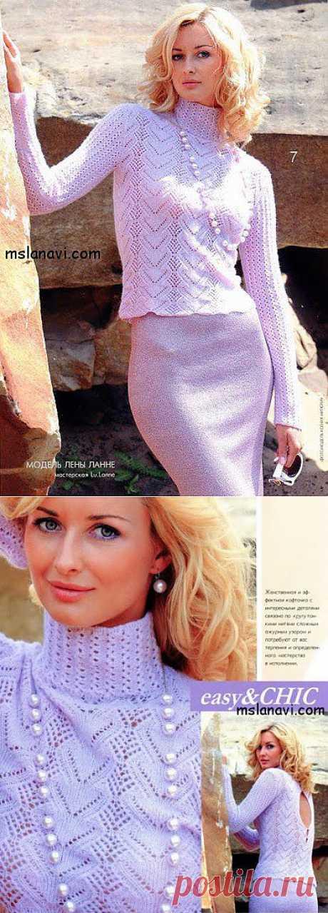 Ажурный пуловер спицами Лены Ланне   Вяжем с Ланой