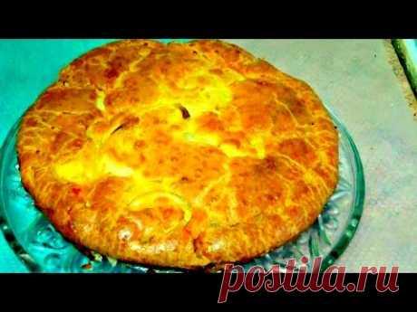 Заливной пирог с курицей, картофелем, луком. Легко и просто