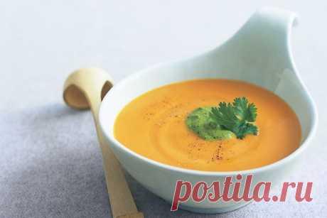 Thai sweet potato soup with coriander pesto