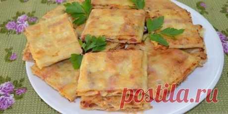 Жареный лаваш с колбасой и сыром | NashaKuhnia.Ru