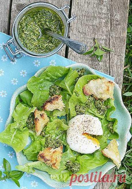 La ensalada verde con el huevo-pashot y pesto (la salsa popular de la cocina italiana en base al aceite de oliva, la albahaca y el queso).