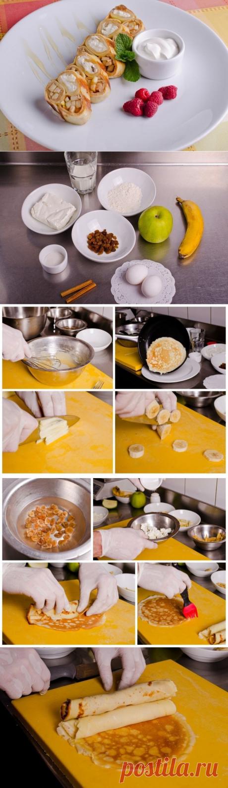 Как приготовить блины с творогом и фруктами - рецепт, ингредиенты и фотографии