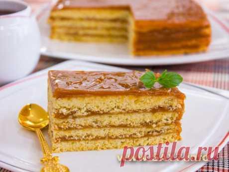 Торт «Песочный» (с вареной сгущенкой)