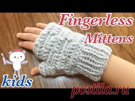 ハンドウォーマーの編み方【かぎ針&輪針(マジックループ)】子供用(幼児サイズ)🌟ブロック編みの指なし手袋