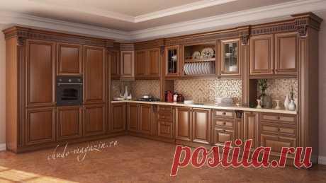 Угловая кухня из массива красной ольхи с духовым шкафом К-05. В интернет магазине Chudo-magazin.ru в Москве.