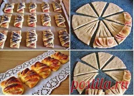 Как приготовить конвертики с яблоками из творожного теста - рецепт, ингредиенты и фотографии