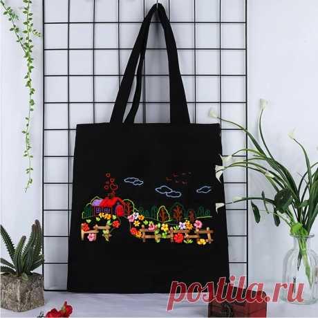 Женская сумка на одно плечо с цветочной вышивкой «сделай сам», Холщовая Сумка, сумка для покупок, набор для рукоделия с вышитым крестом|Вышивка| | АлиЭкспресс