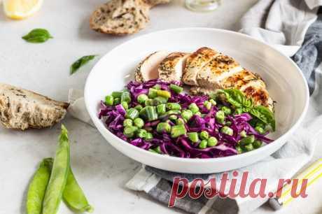 Теплый салат с куриным филе и овощами | Меню недели