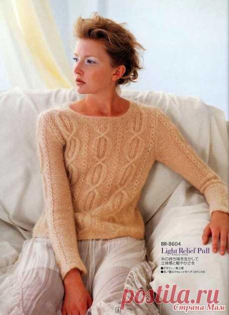 Пуловер из мохера. Спицы.