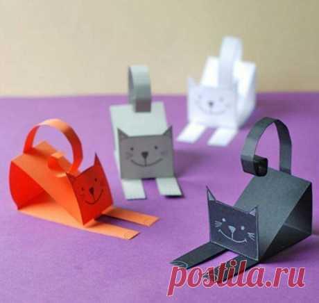 Кошечки из бумаги — Поделки с детьми