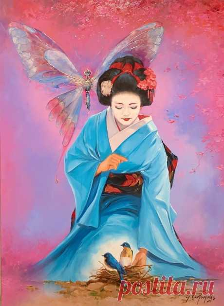 Madame Butterfly by Georges Corominas, 2019 | Painting | Artsper (637155)
