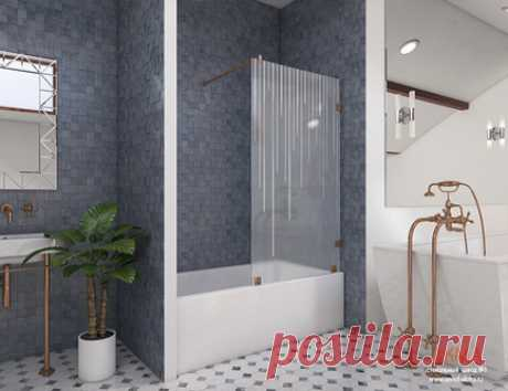 Шторка для ванной из стекла с держателем. На фото представлена стеклянная шторка в матовом исполнении с гравировкой ввиде доже. Модель называется Юлиана, производится на заказ за 20 дней.
