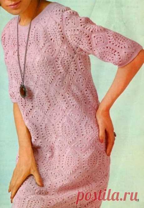 Красивое платье мотивами крючком. Ажурное женское платье из мотивов | Я Хозяйка