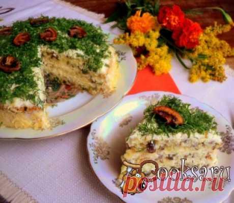 Грибной бисквитный торт фото рецепт приготовления