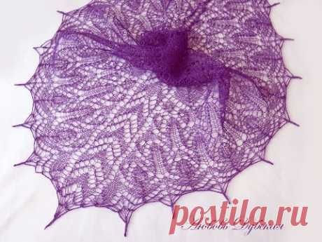 Ажурная шаль спицами. Часть 1. Мастер класс. Knitting shawl. Master Class.