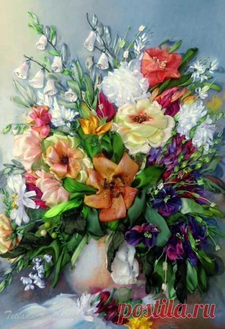 Изумительная вышивка лентами, на которой цветы как живые — DIYIdeas