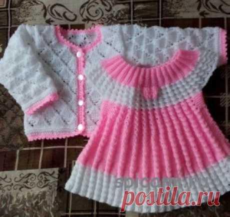 Платье, кофточка и пинетки на девочку 3-6 мес | Вязание спицами, крючком, уроки вязания