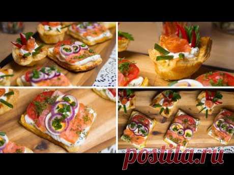 Закуски из слоеного теста - лосось, сливочный сыр, помидор и фиолетовый лук