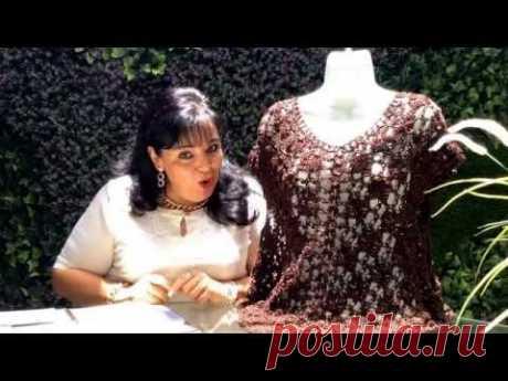 Blusa de espuma de mar y petatiyo - Tejida en gancho - Tejiendo con Laura Cepeda - YouTube