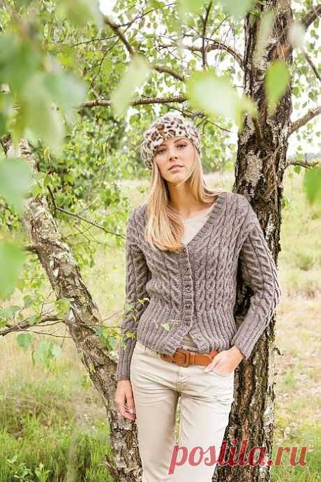Вязание крючком и спицами - Жакет узором из кос