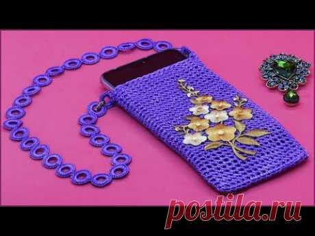 Вязание чехла для смартфона. Чехол крючком. Часть 2. Crochet cover. Part 2.
