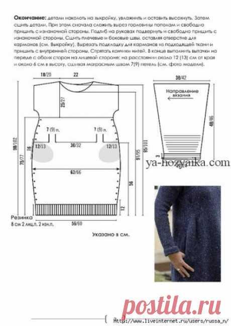 Вязаное платье из твида спицами. Платья спицами описания схемы,
