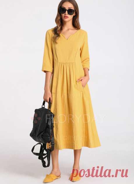 Повседневное льняное платье. Выкройки на размеры 36-56.