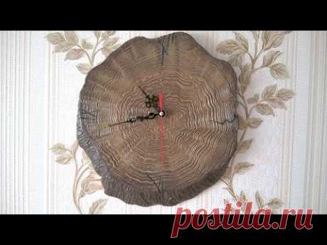 Настенные часы из картона своими руками! DIY. Имитация дерева. 1 часть. watch out of cardboard
