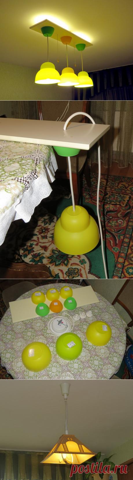 Бюджетная люстра на кухню из салатниц