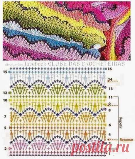 узор для пледа разноцветный плотный / Рукоделие / Крючком Женская одежда / Pinme.ru