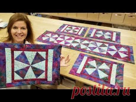"""Donna's FREE Pattern """"Windmills"""" Placemats and Table Runner! - YouTube"""