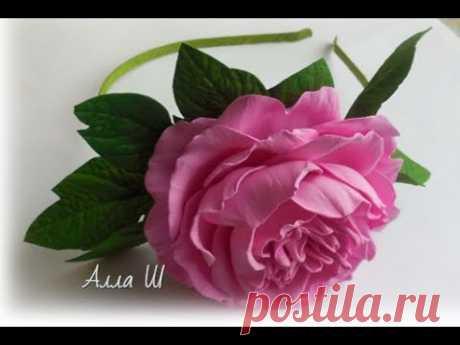 МК Пион из фоамирана на ободке для начинающих, простая сборка цветка с плоским основанием.
