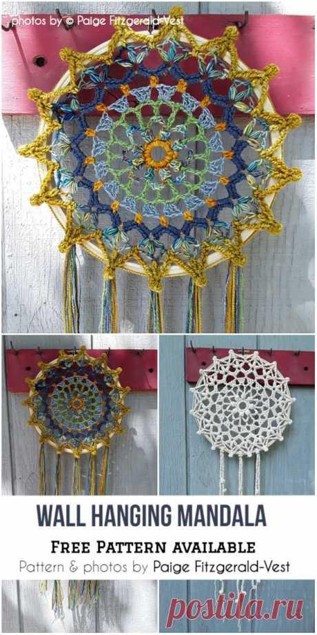 Decorative Wall Hanging Crochet Mandala #crochet #decor #mandala #crochetmandala #freecrochetmandalapattern #craft #diymandala