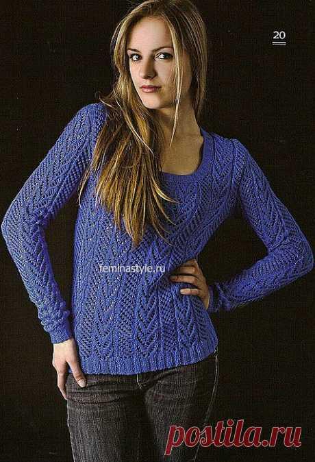 Пуловер с ажурными дорожками.