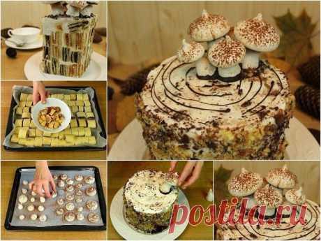 Сметанный торт «Трухлявый пень»   1 стакан сметаны  2/3 стакана сахара  1 яйцо  0.5 ч. ложки соды (погасить)  3 стакана муки.   Начинка:  100 гр. чернослива  150 гр. кураги  100 гр. орехов  150 гр. изюма.   Крем:  750 мл сметаны  1 ст. сахара   Приготовление:   Начинку для торта можно приготовить заранее: залить сухофрукты горячей водой и распарить их.  Затем перекрутить орехи и сухофрукты на мясорубке по отдельности.  Я перекручивала на комбайне, так быстрее.  Если фрукто...
