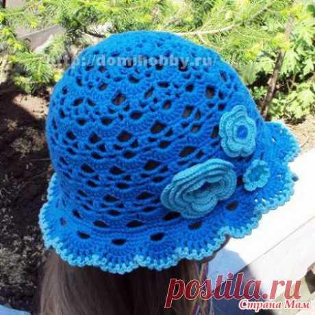 Голубая панамка крючком