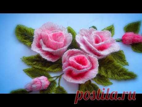 Вышивка гладь * Как вышить розу * Объемная вышивка * #malina_gm