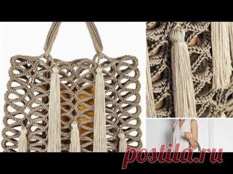 Спиральный узор для сумки крючком🦋смотрим увлекательный приём🦋
