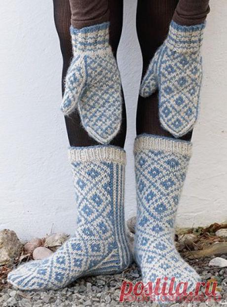 Вязаные носки и варежки «Fjord Mosaic» | ВЯЗАНЫЕ НОСКИ