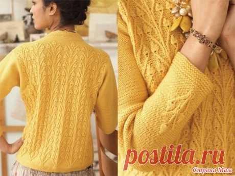 Желтый пуловер с узором бутоны - Вязание - Страна Мам