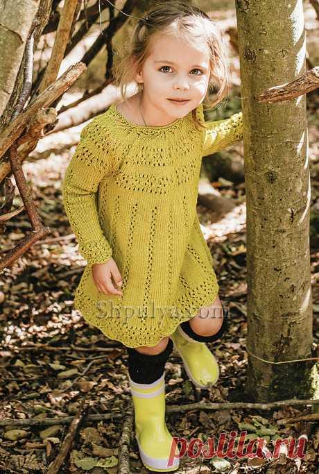 Платье горчичного цвета для девочки — Shpulya.com - схемы с описанием для вязания спицами и крючком