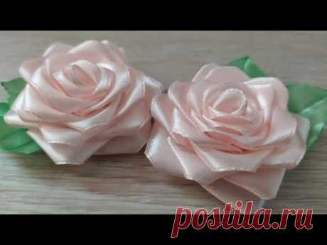 МК розочек из ленты 2,5см. Канзаши розочки. Цветы из лент Для начинающих.  #мк_канзаши #мк_розы