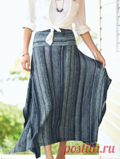 Indigo Stripe Pima Cotton Skirt - Peruvian Connection