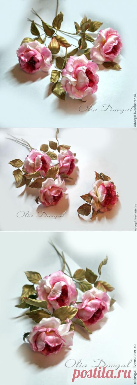 Купить Цветы из шелка Староанглийские розы брошь и букет - брошь, брошь цветок