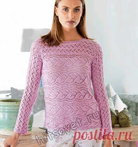 Розовый летний пуловер с листьями